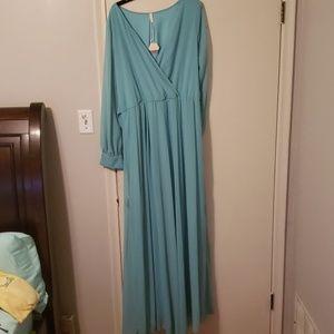 Mint green, floor length dress